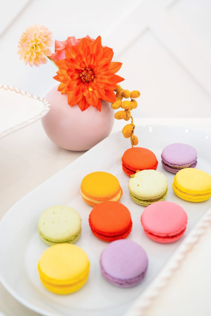 Vibrant Colorful Macaroons at Reception of Citrus Wedding