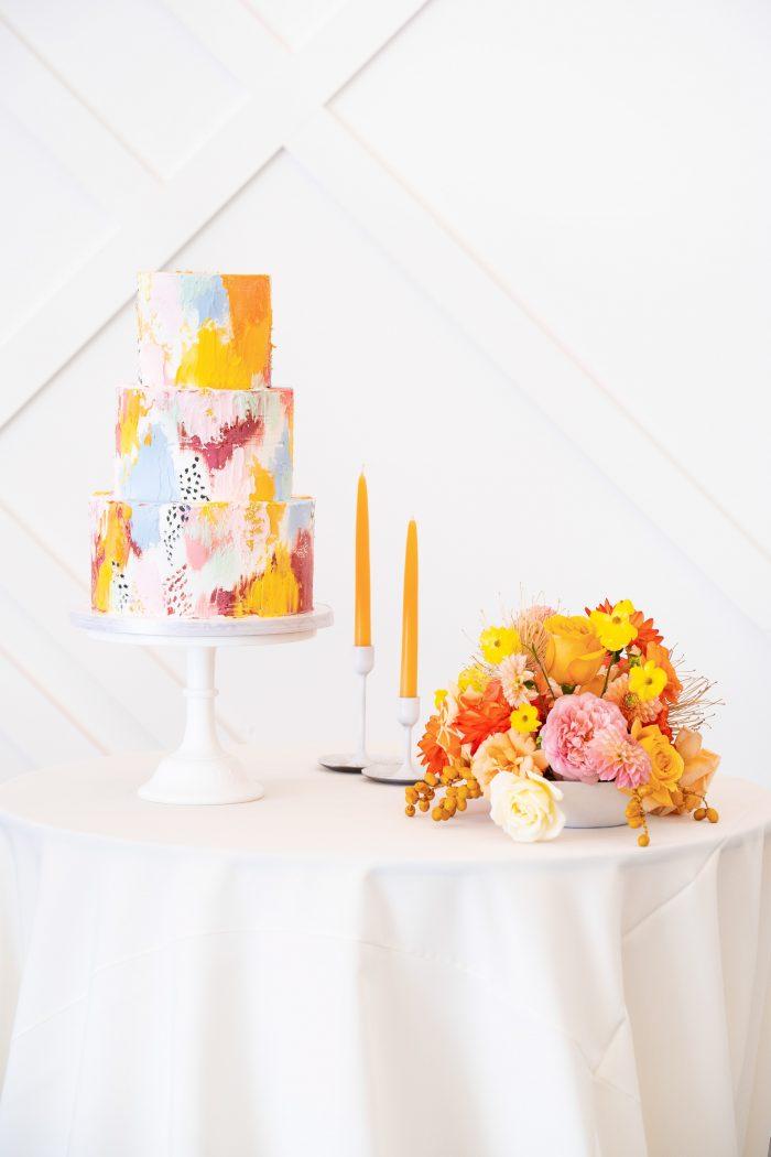 Colorful Marbled Wedding Cake at Citrus Wedding