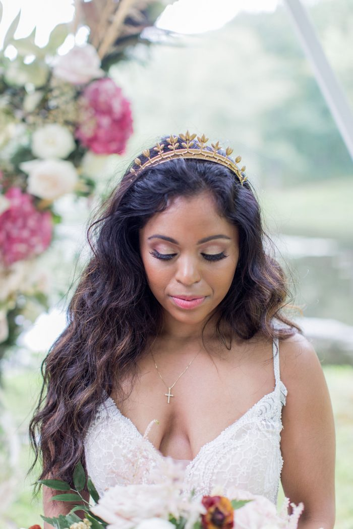 Real Bride Wearing Mermaid Waves Hairstyle with Gold Crown and Sottero and Midgley Wedding Dress