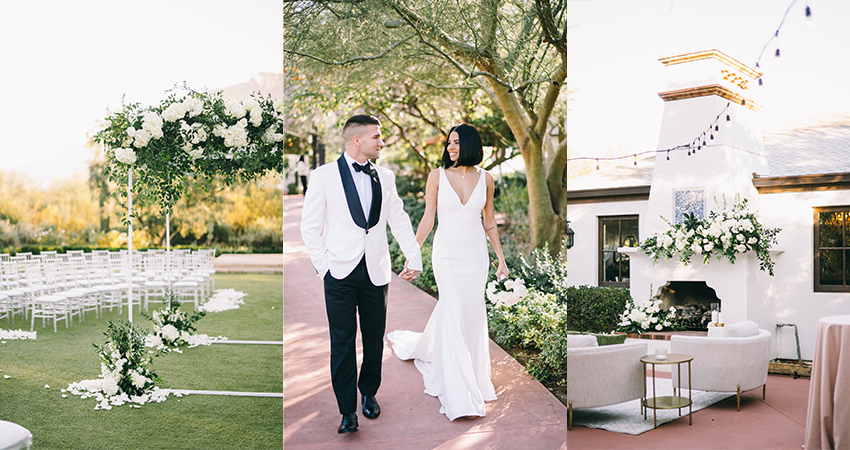 Collage of Modern Wedding Featuring White Florals, Fresh Details, and Bride and Groom
