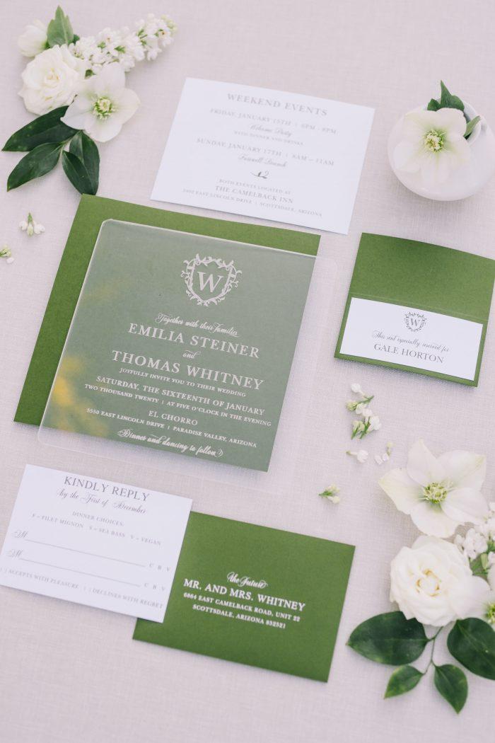 Green and White Modern Wedding Invites