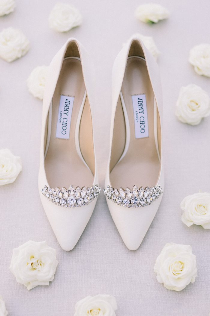 White Closed Toe Wedding Shoes with Diamonds