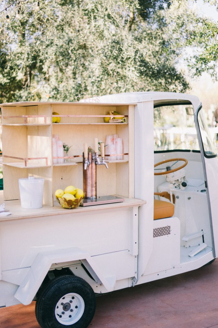 Food Truck with Beverages at Outdoor Reception
