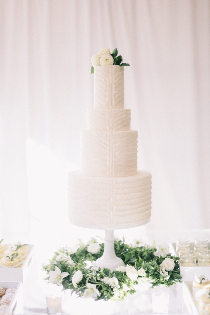 White Modern Wedding Cake with Clean Geometric Details