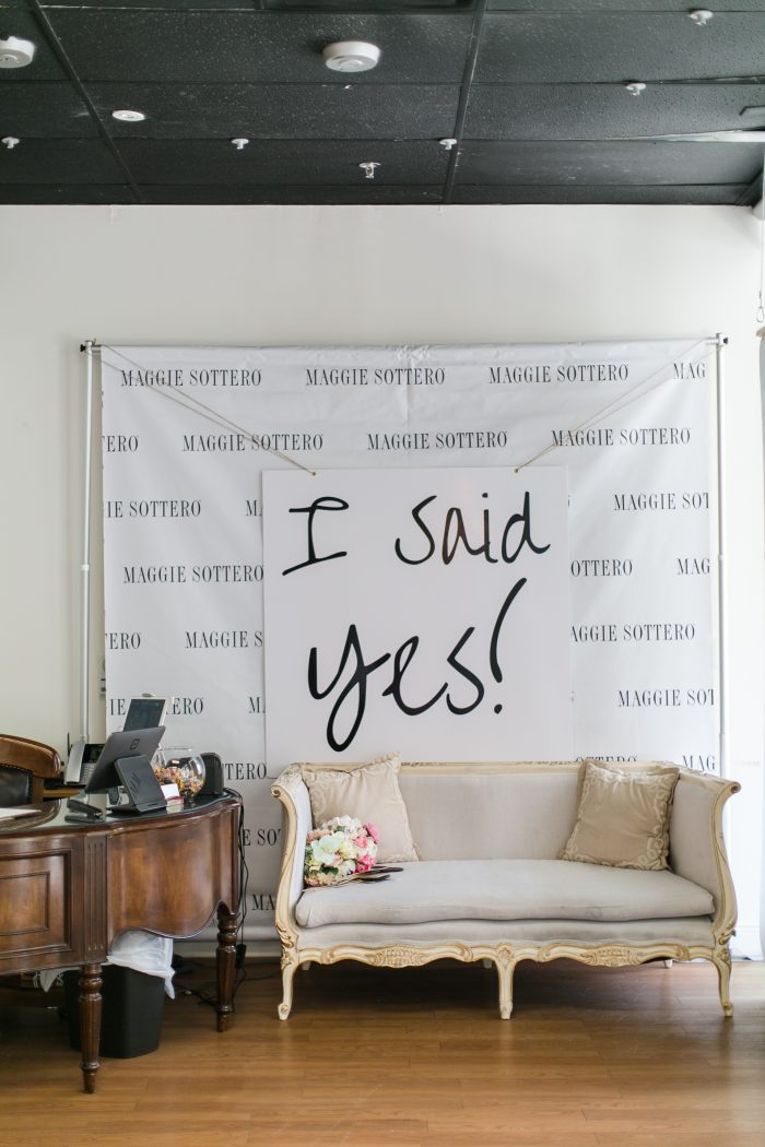 """I Said Yes"" sign in a bridal boutique"