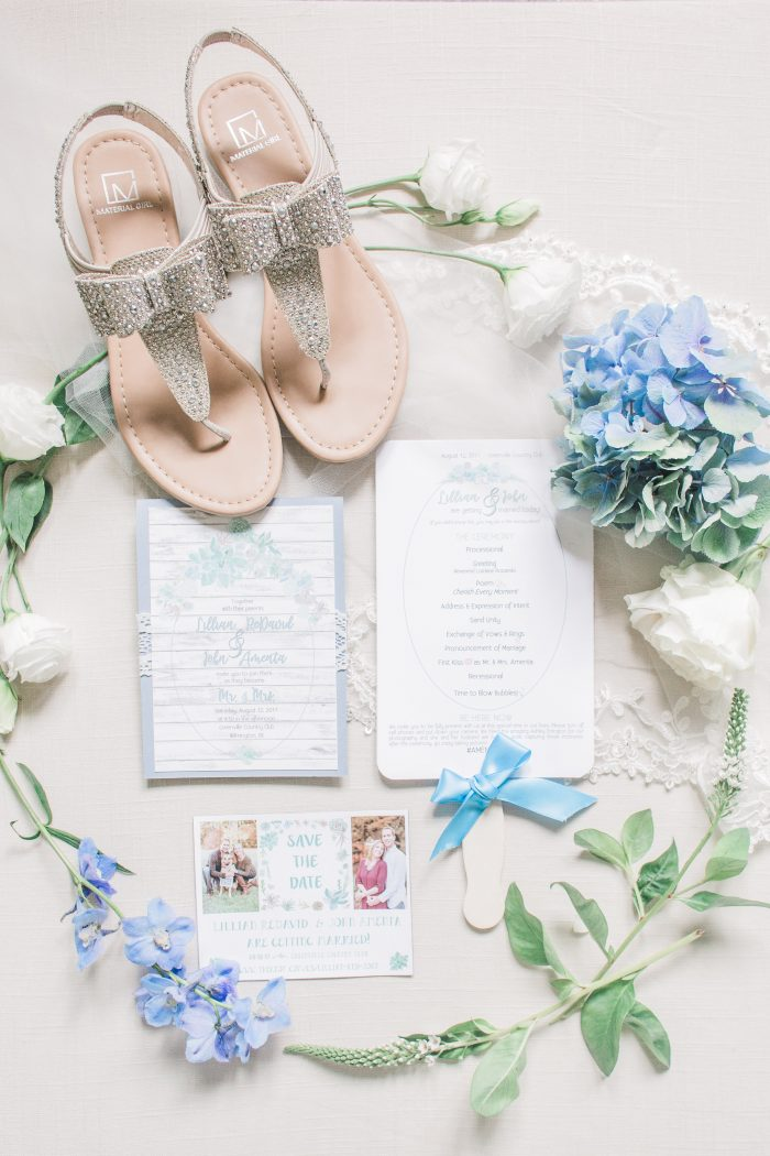 Casual Sandals for Spring Wedding with Pastel Wedding Invitation