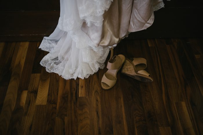 Wedding Shoe Ideas from Real Bride Wearing Brown Wedges