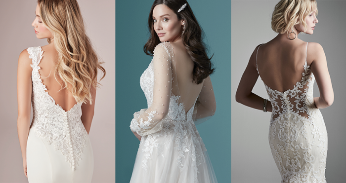 Collage of Models Wearing Low Back Wedding Dresses