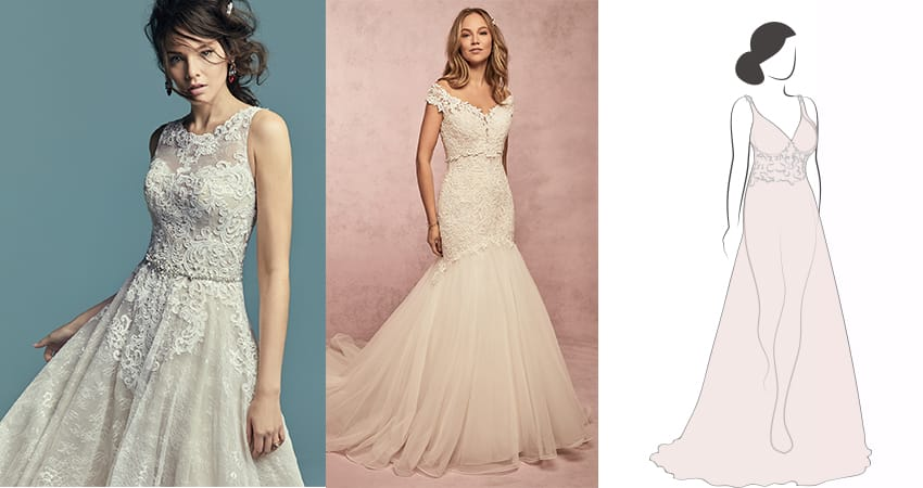 Flattering wedding dresses for brides with large chests - Maggie Sottero