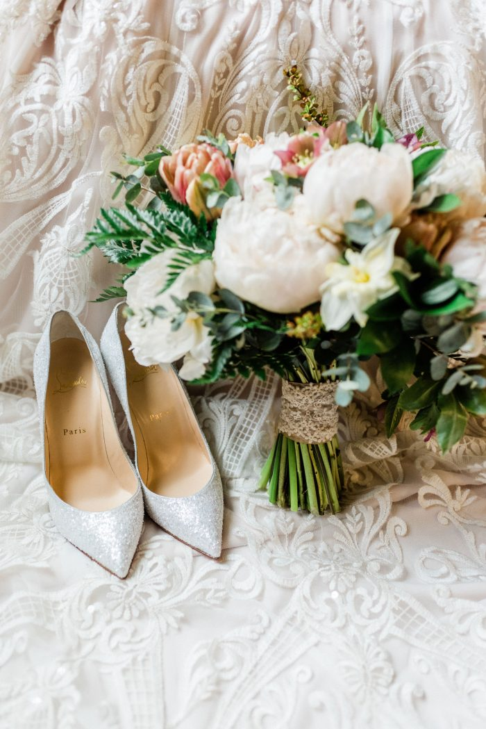 Blue Shimmery Wedding Shoes with Bridal Bouquet of Flowers