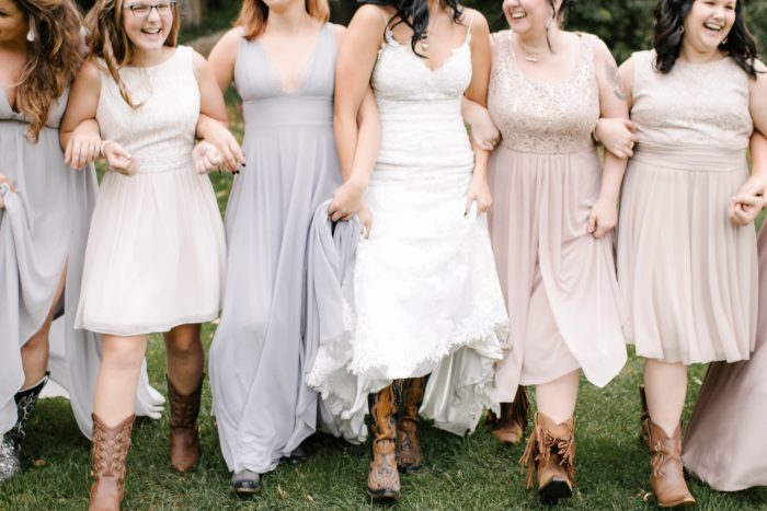 Bridesmaids with Real Bride Wearing Cowgirl Boots at Real Country Wedding