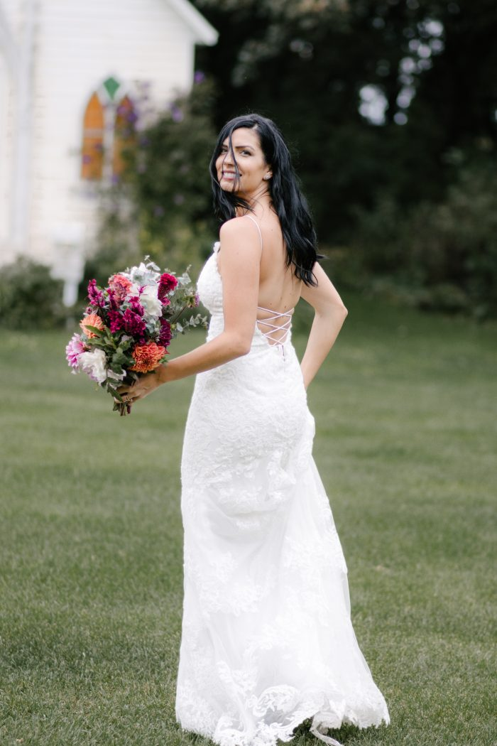 Real Bride Wearing Country Chic Wedding Dress Bristol by Sottero and Midgley