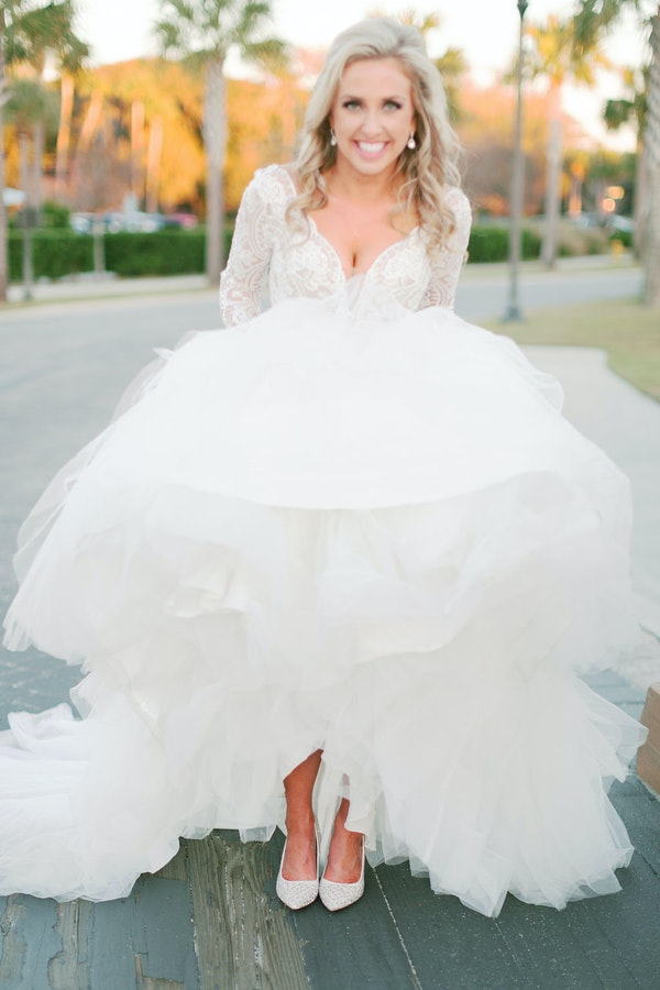 White Wedding Shoe Ideas from Real Bride Wearing Ball Gown Wedding Dress Called Mallory Dawn by Maggie Sottero