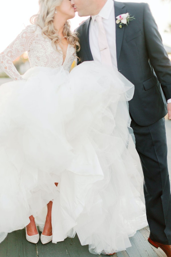 Real Bride Wearing Ball Gown and Classic White Wedding Shoes
