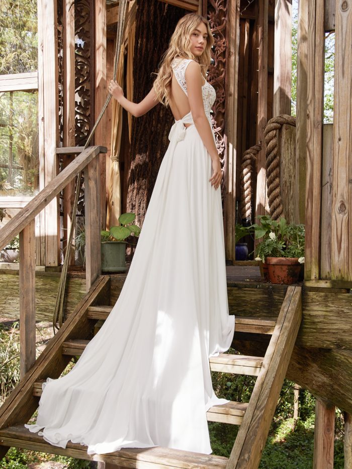 Model Wearing Wedding Gown with Keyhole Back Called Gabriella by Rebecca Ingram