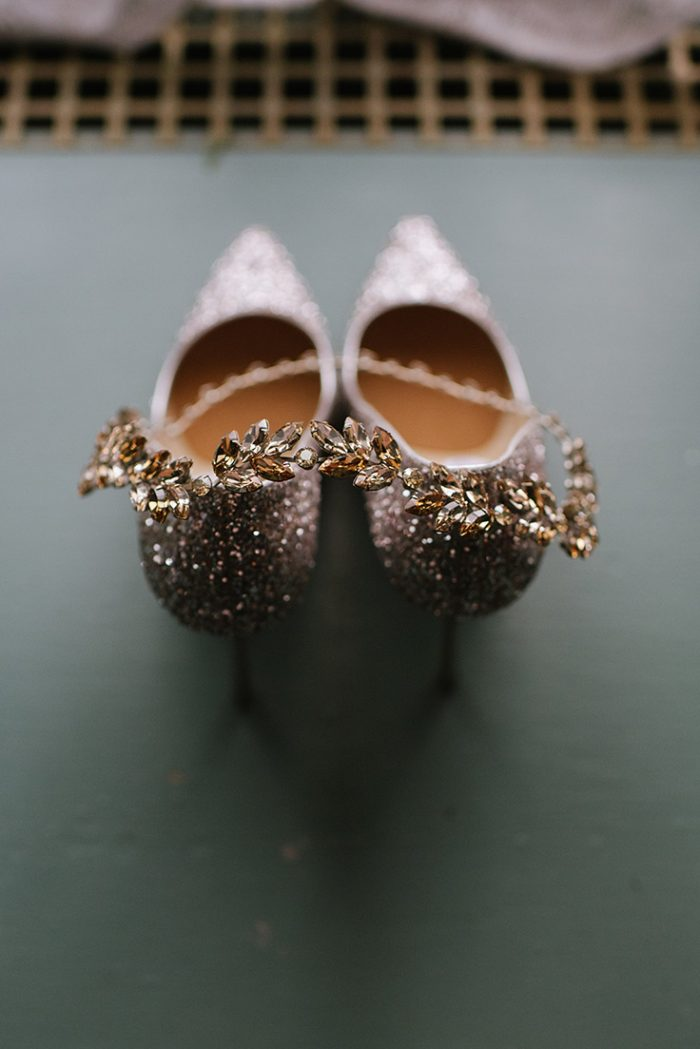 Sparkly Champagne Wedding Heels
