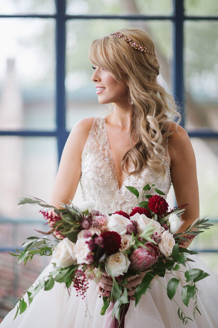 Bride Wearing Champagne Ball Gown with Bouquet
