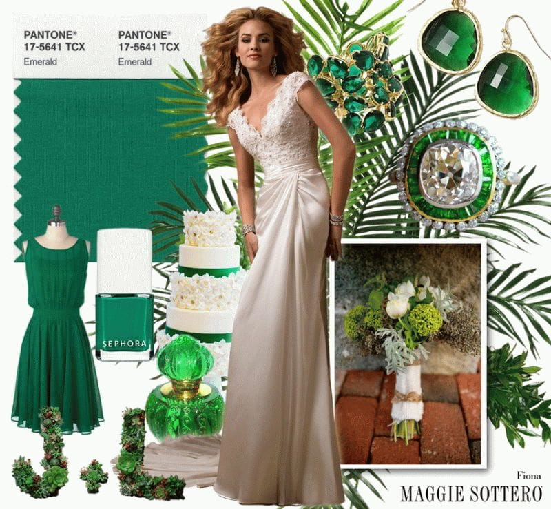 "Maggie Sottero styles Fiona in Pantone's Color of the Year ""Emerald"""