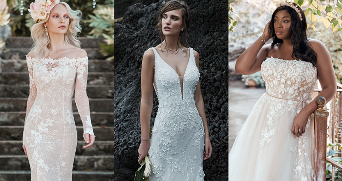 Collage of Models Wearing Garden Soiree Wedding Dresses by Maggie Sottero