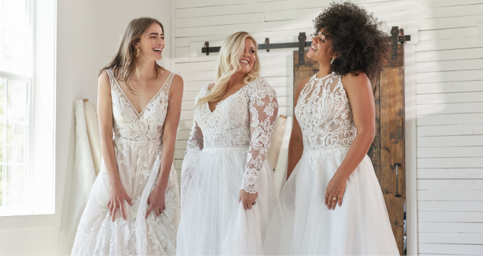 Three Brides Wearing Different Sized Maggie Sottero Wedding Dresses for Body Positivity