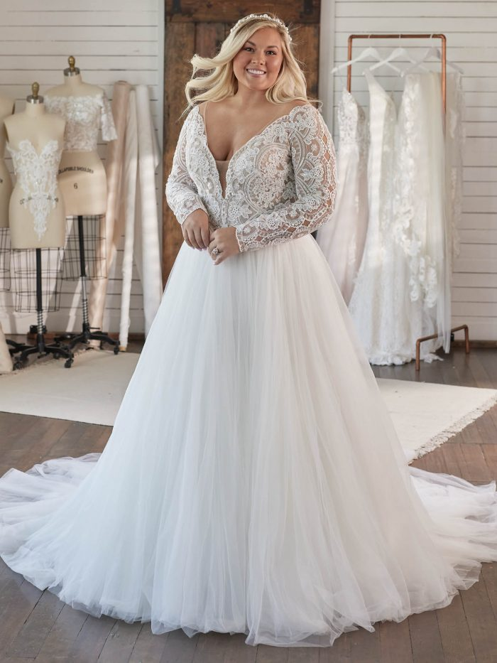 Bride Wearing Plus Size Ball Gown Wedding Dress Called Mallory Dawn by Maggie Sottero