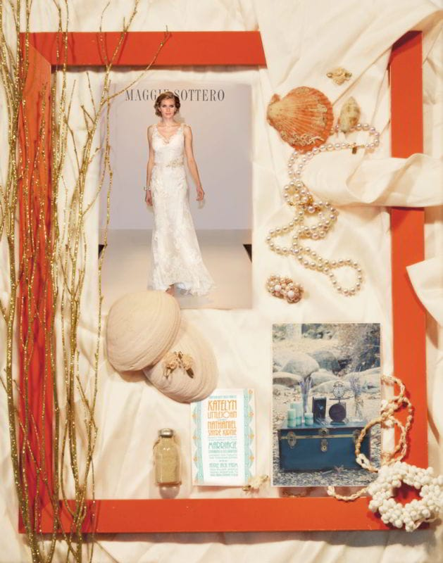 Maggie Sottero continues our wedding day inspiration trend boards with a beaches and garden theme and a gown from our Fall 2013 collection.