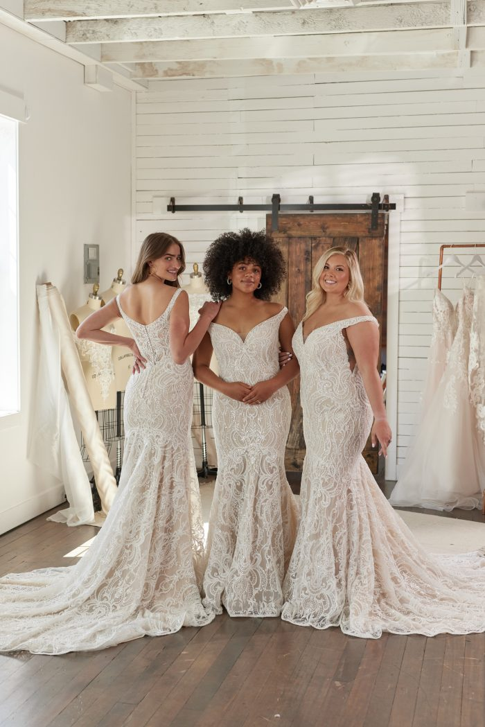 Three Brides in Different Sizes Wearing Body Positive Elias Wedding Dress by Sottero and Midgley