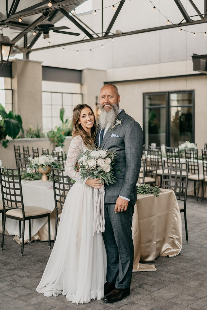 Father of the Bride with Bride Wearing Rustic Wedding Dress by Maggie Sottero