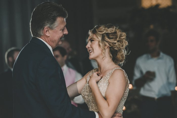 Father of the Bride Dancing with Bride During Real Wedding