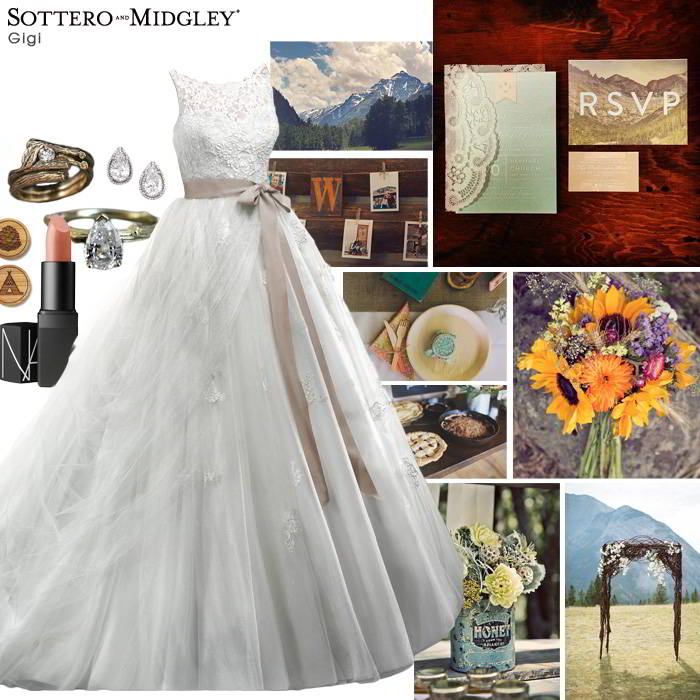 Sottero and Midgley wedding dress styled for a mountain wedding.