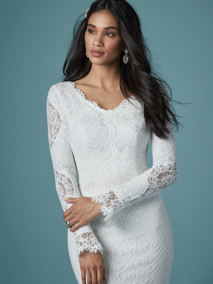 Model Wearing Long Sleeve Lace Wedding Gown Called Antonia Leigh by Maggie Sottero