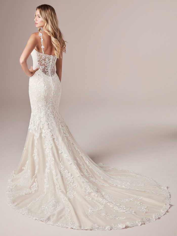 Model Wearing Lace Illusion Back Wedding Dress Called Alma by Rebecca Ingram