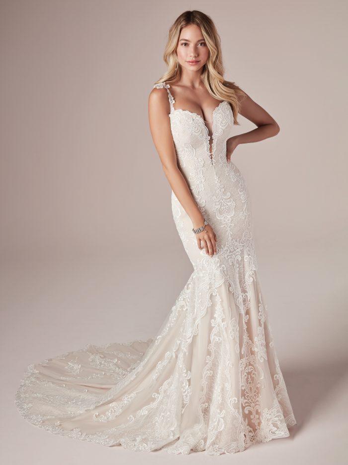 Model Wearing Lace Mermaid Wedding Gown Called Alma by Rebecca Ingram