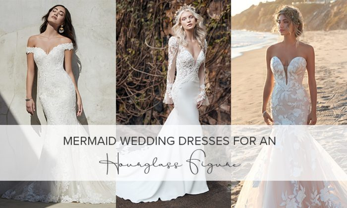 Collage of Models Wearing Mermaid Wedding Dresses for an Hourglass Figure