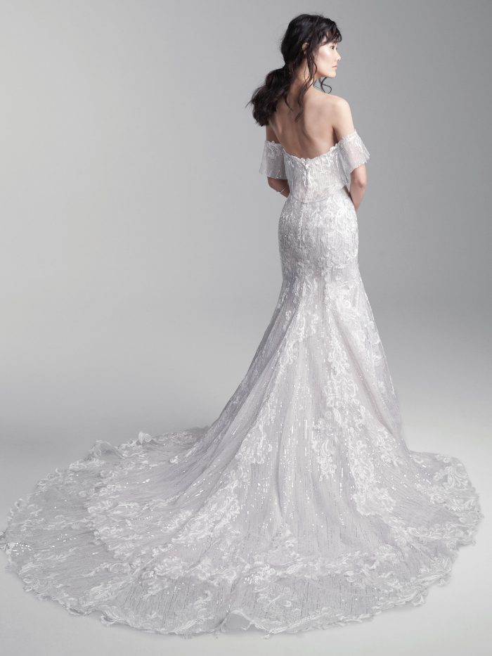 Model Wearing Off-the-Shoulder Lace Mermaid Wedding Dress Called Conrad by Sottero and Midgley