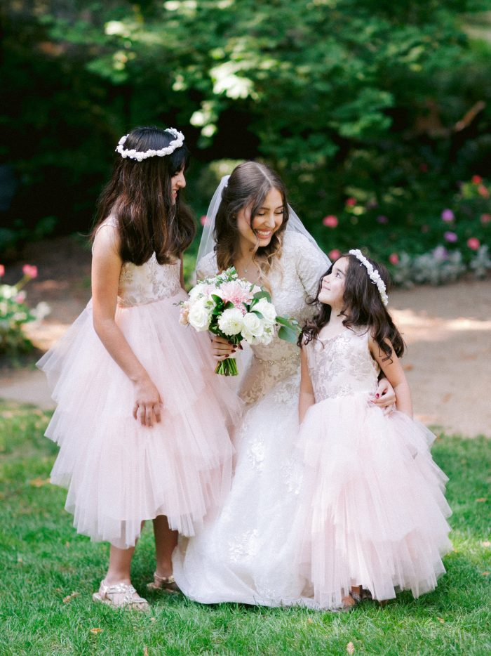 Flower Girls with Real Bride Wearing Modest A-line Wedding Dress Meryl Marie by Maggie Sottero
