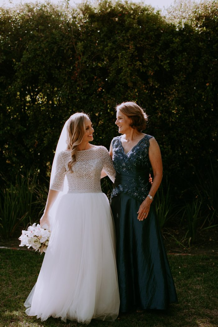 Mother of the Bride Wearing Blue Maxi Dress at Garden Wedding