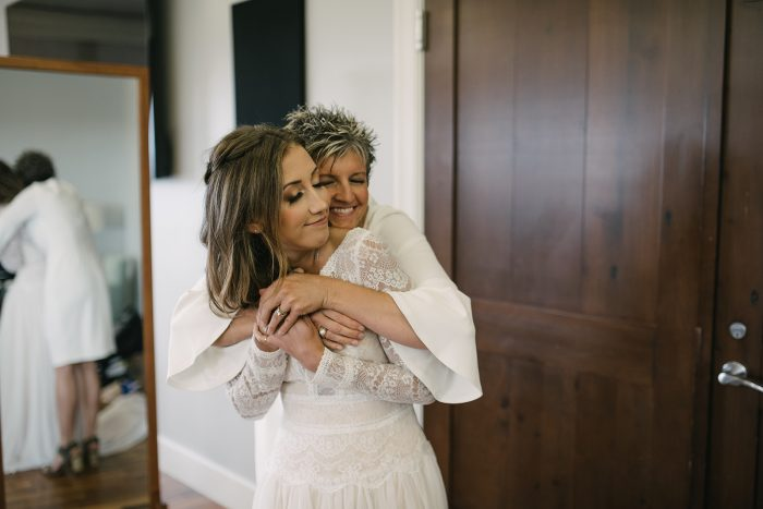 Mother of the Bride Hugging Maggie Bride