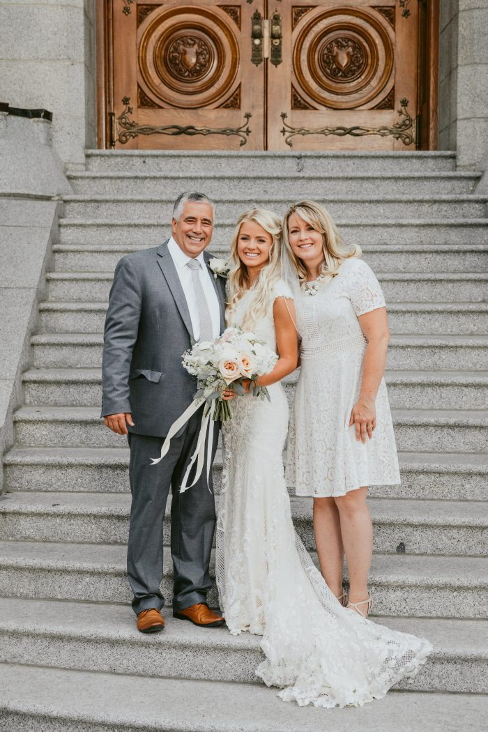 Real Bride with Mother and Father at Real Wedding
