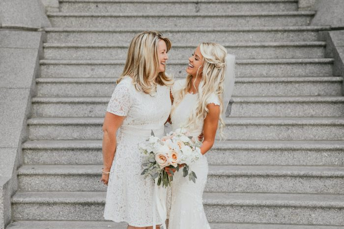 Bride with Mother of the Bride Wearing White Teatime Summer Dress