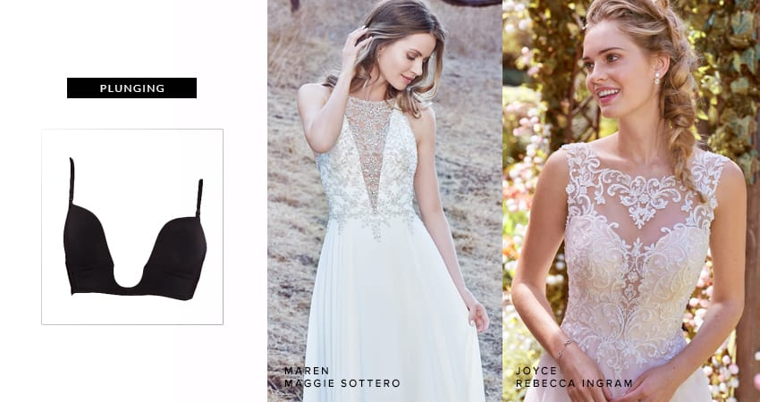 Best Undergarments for Your Wedding Dress - Plunging Neckline Wedding Dress