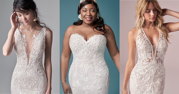 Collage of Models Wearing Flattering Fit and Flare Wedding Dresses for Athletic Body Types