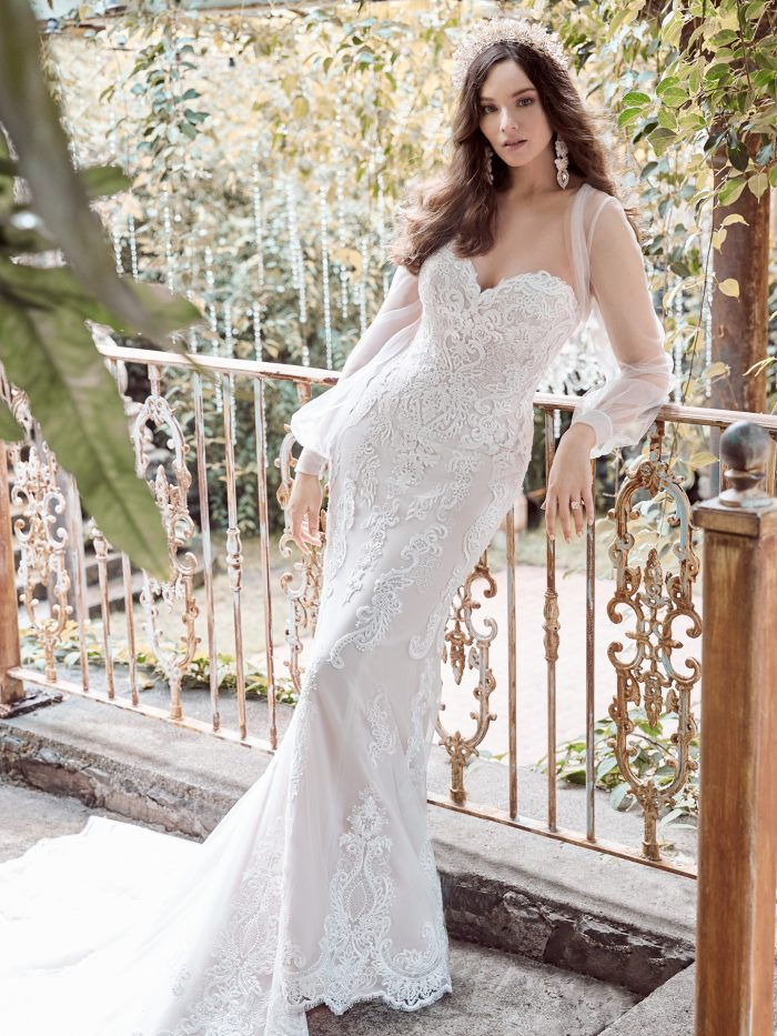 Model Wearing Strapless Lace Fit-and-Flare Wedding Gown Called Clarette by Maggie Sottero