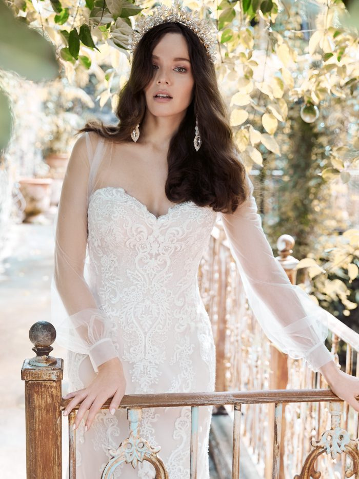 Bride Wearing Illusion Bolero Bridal Jacket with Strapless Wedding Dress Called Clarette by Maggie Sottero