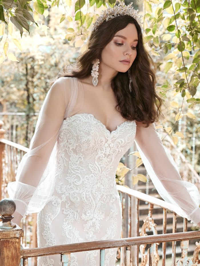 Model Wearing Strapless Lace Fit-and-Flare Wedding Dress Called Clarette by Maggie Sottero