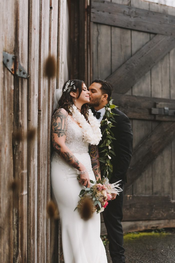 Groom Kissing Bride During Bridal Shoot
