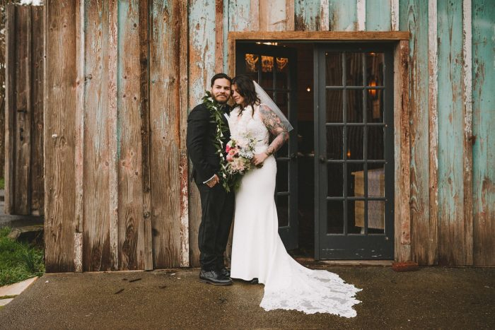 Groom with Real Bride Wearing Beaded Sheath Wedding Dress Called Alaina by Maggie Sottero