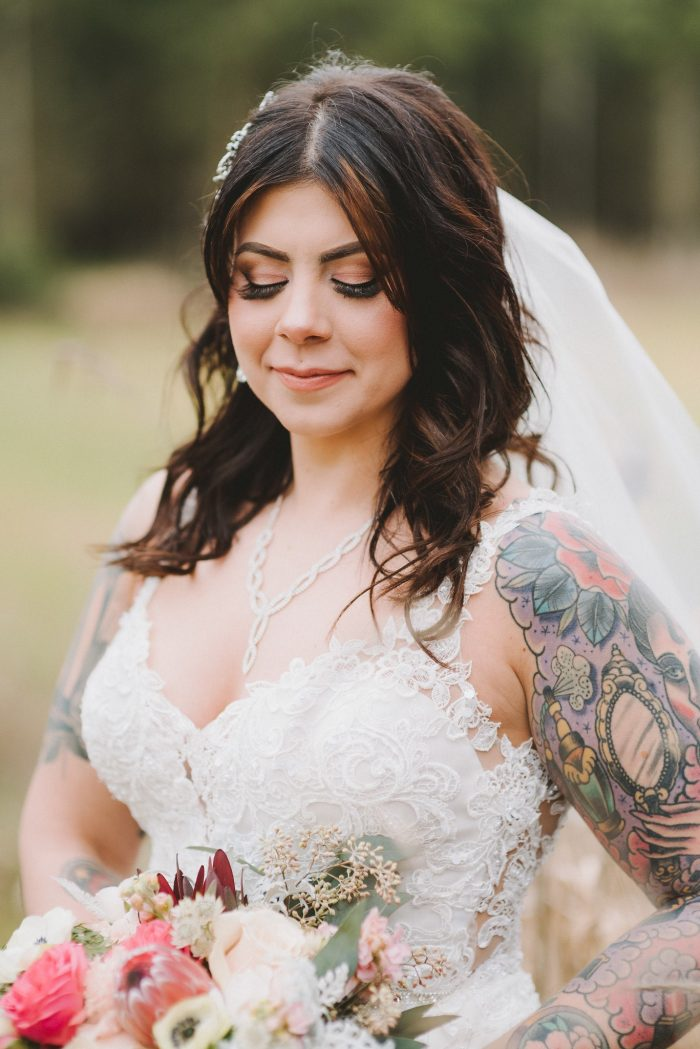 Real Bride Wearing Beaded Sheath Wedding Dress Called Alaina by Maggie Sottero