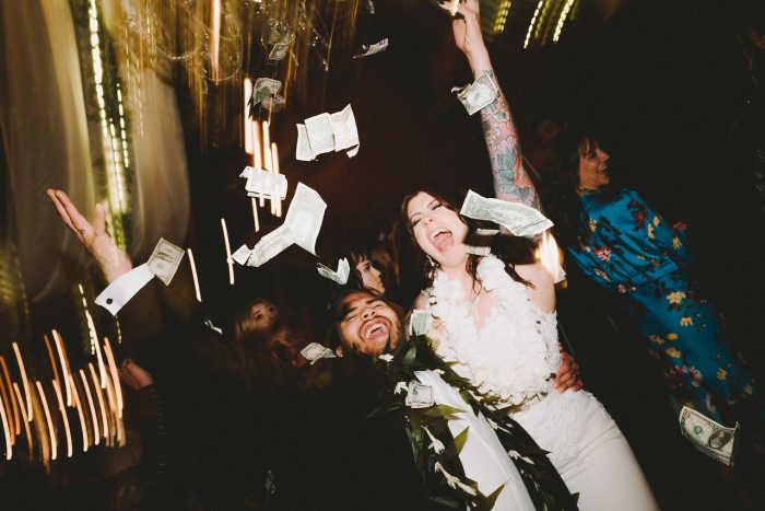 Real Bride and Groom Celebrating After Getting Married