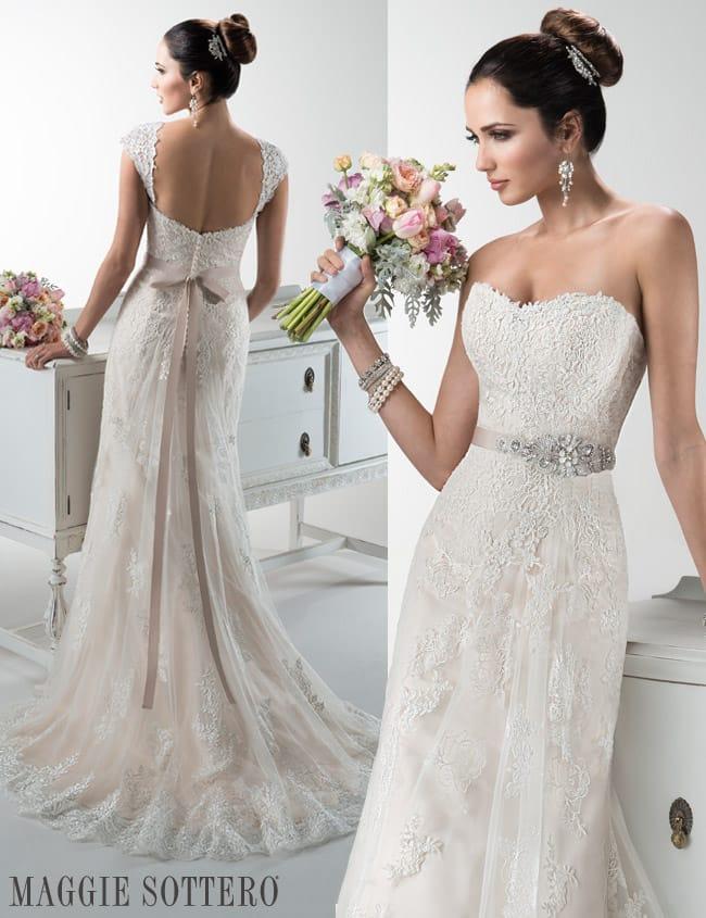 Elegant lace wedding dress, Joelle by Maggie Sottero.